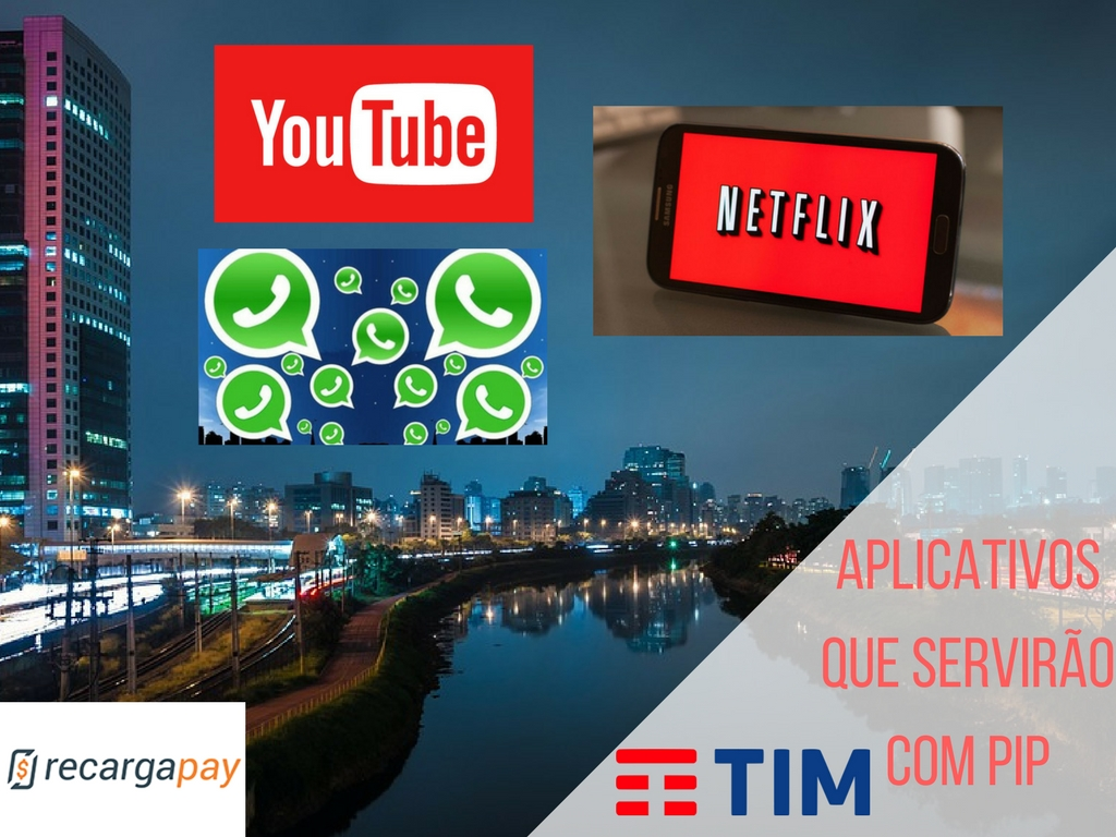 Netflix, YouTube, Whatsapp, TIM,